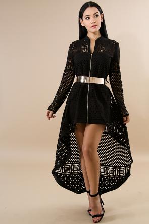 Square Design Long Sleeve Cardigan Dress