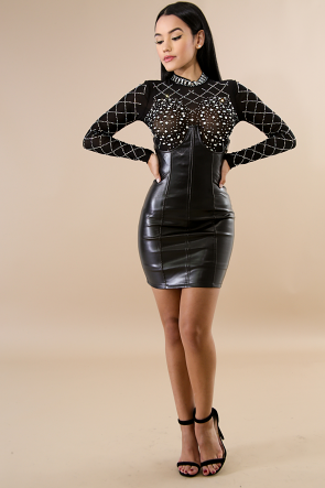 Enchanted Leather Corset Mini Skirt