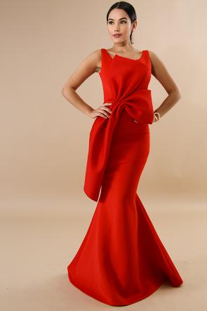 Classic Bow Mermaid Maxi Dress