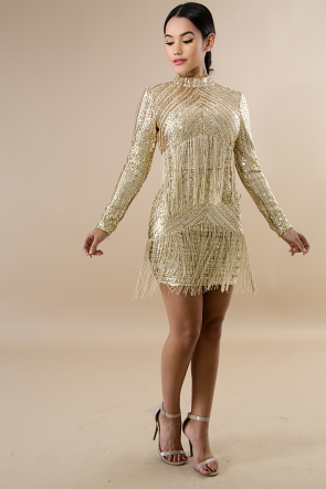 Fringe Sequin Body-Con Dress