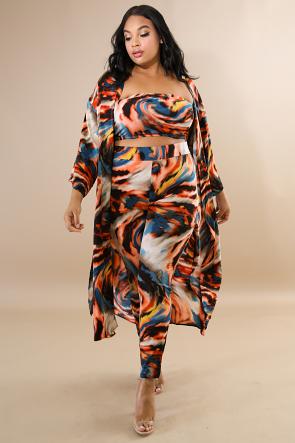 Swirl Kimono Slit Set