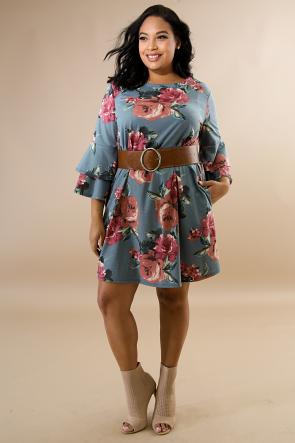 Teal Floral Autumn Flare Dress