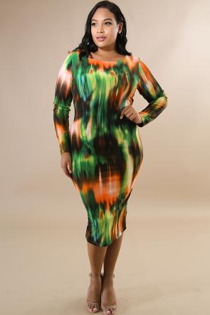 Falls Vibrant Long Sleeve Midi Dress