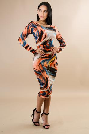Rust Multi print Long Sleeve Dress