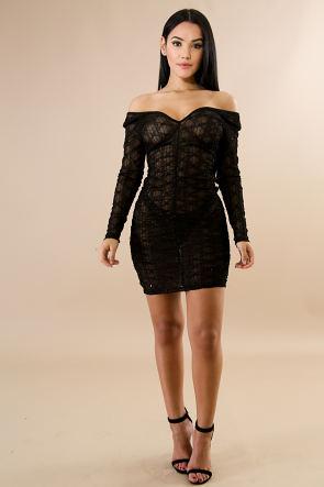 Sequin Lace Scrunch Body-Con Dress