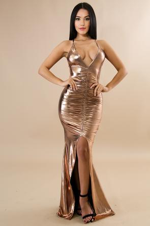 Rose Gold Scrunched Maxi Dress