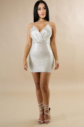 Silver Snake Mini Dress
