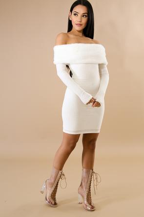 Off Shoulder Sweater Mini Dress