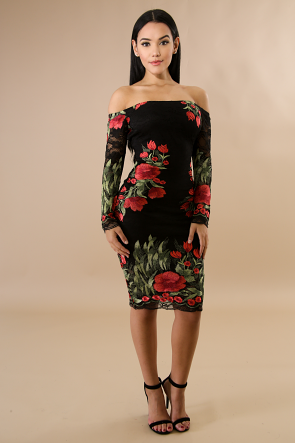 Embroiled Rosas Off Shoulder Long Sleeve Dress