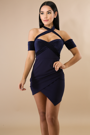 Suede Overlay Sweetheart Dress