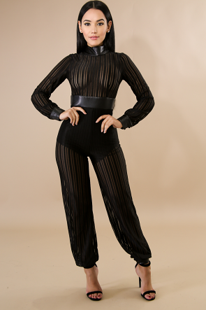 Striped Leatherette Mesh Jumpsuit