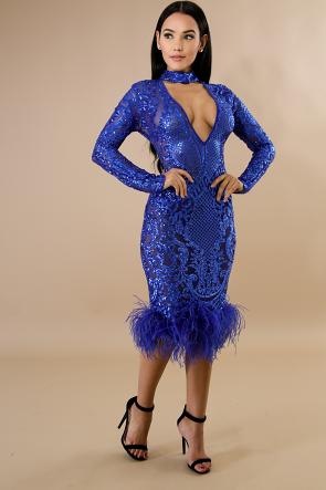 Feathers Sequin Choker Mermaid Dress