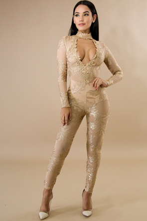 Sheer Embroidered Glitter Jumpsuit