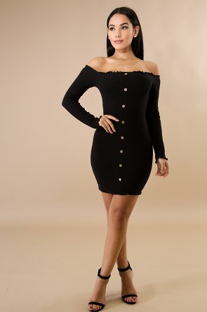 Ribbed Knit Button Up Long Sleeve Mini Dress