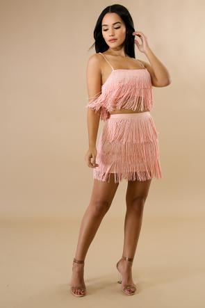 Main Attraction Fringe Skirt Mini Set