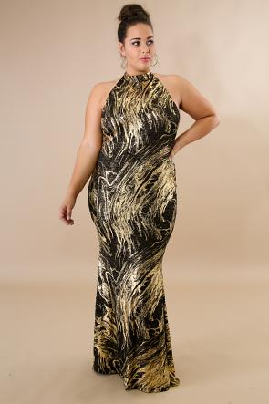 Mock Neck Metallic Maxi Dress