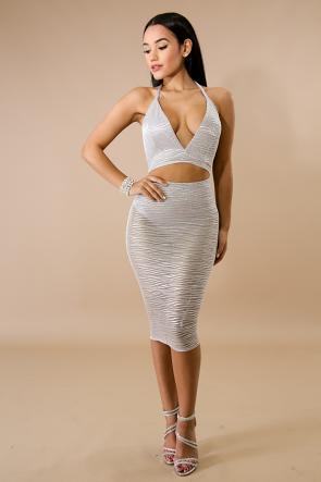 Silver Stripe Bodysuit Dress