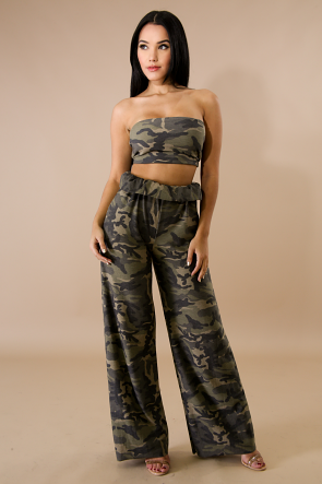 Military Strapless Long Pants Set