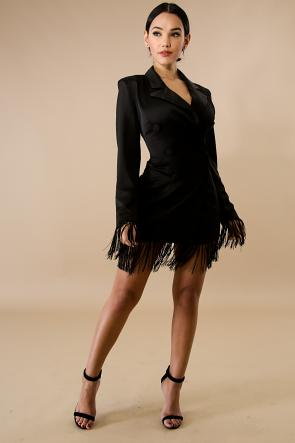 Tuxedo Fringe Long Sleeve Dress
