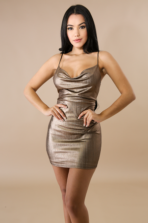 Streaks Metal Body-Con Dress