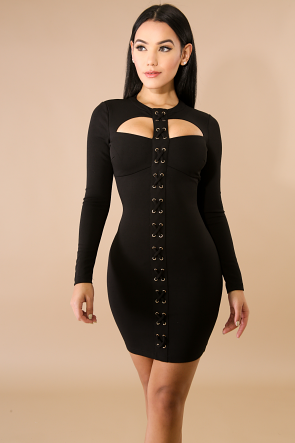 Crossing Eyelet Body-Con Dress