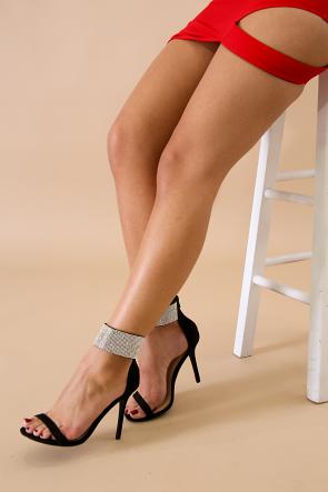 Wild Diva Lounge Suede Rhinestone Cuff Stiletto Heel