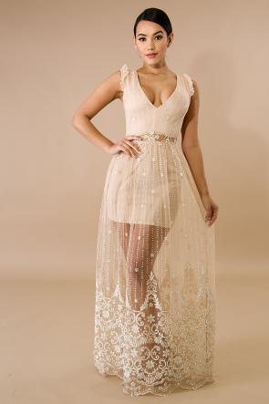 Sequin Glitter Drop Maxi Dress