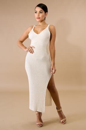 Shine Knit Slit Dress