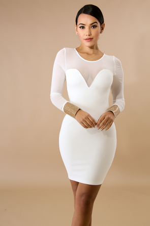 Sheer Rhinestone Body-Con Dress