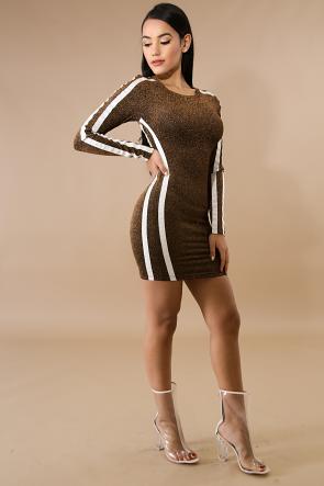 Long Sleeve Shine Body-Con Dress