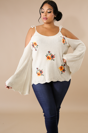 Embroidered Floral Knit Tie Sweater Top