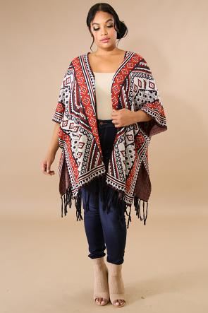 Aztec Knit Fringe Slit Poncho