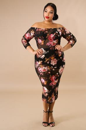 Sheer Floral Foil Midi Body-Con Dress