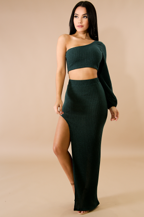One Shoulder Bishop Maxi Knit Skirt Set