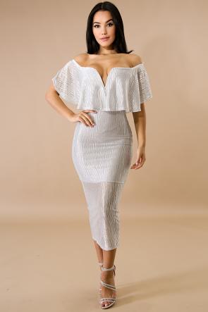 Elegance Zebra Shine Midi Dress