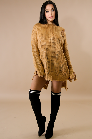 Tie Up Back Distressed Sweater