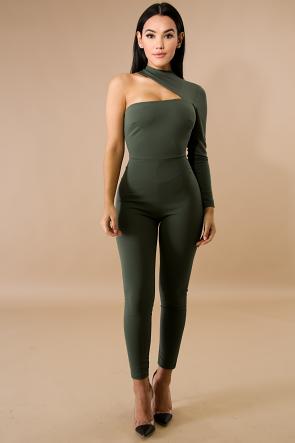 One Shoulder Tight Jumpsuit