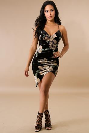 Velvet Floral Body-Con Dress