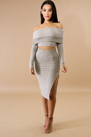 Wool Slit Skirt Set