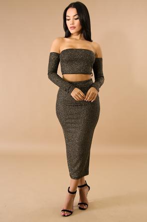 Corset Maxi Glitter Knit Skirt Set