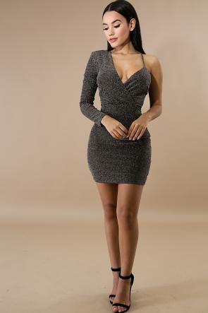 Ivy Cold Shoulder Shine Mini Dress