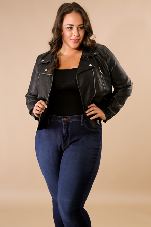 Zip Leatherette Jacket