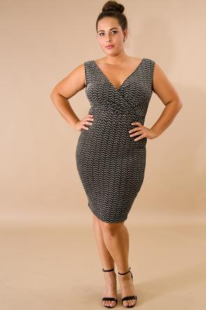 Chevron Shine Body-Con Dress