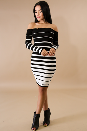 Scallop Striped Knit Body-Con Dress