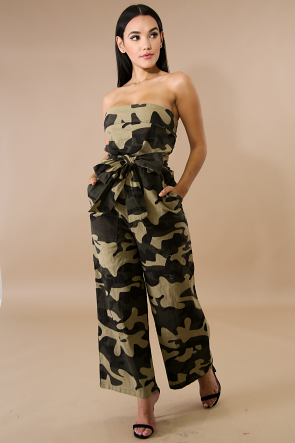 Twofer Camouflage Palazzo Jumper