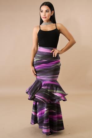 Marble Swirl Flare Maxi Skirt