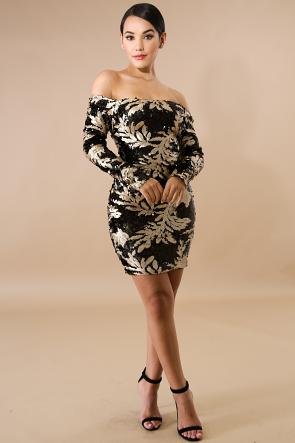 Leafs Sequin Body-Con Dress