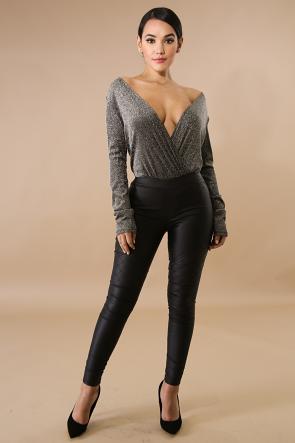 Plunging Glitter Knit Bodysuit
