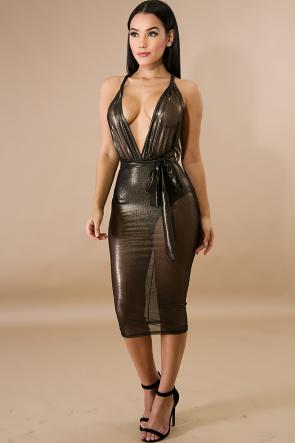 Metallic Sheer Body-Con Dress