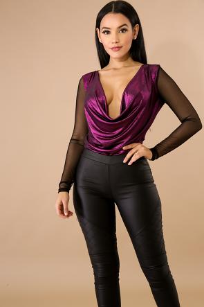 Plunging Sheer Shine Bodysuit